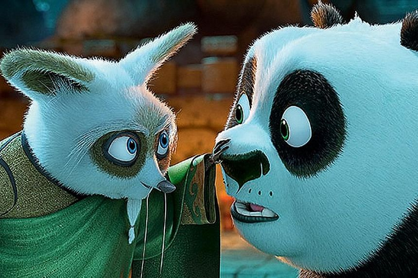 Kung Fu Panda 3's Master Shifu (left, voiced by Dustin Hoffman) and Po (Jack Black, right).