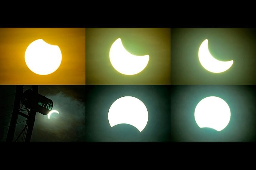 A combination image showing the sequence of the solar eclipse in Singapore on March 9, 2016, from start to finish.
