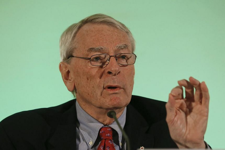 Former World Anti-Doping Agency president Dick Pound gesturing at a news conference in Unterschleissheim, on Jan 14, 2016.