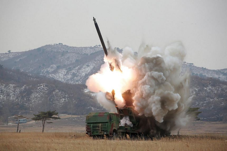 A new multiple launch rocket system is test fired in this undated file photo released by North Korea's Korean Central News Agency in Pyongyang on March 4, 2016.
