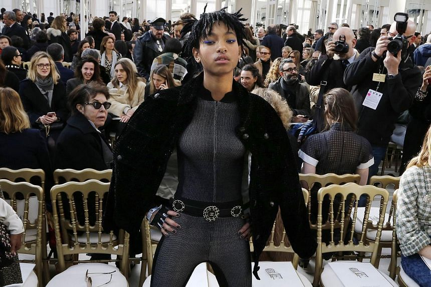 Willow Smith, daughter of US actor Will Smith attending the Chanel 2016-2017 fall/winter ready-to-wear collection on March 8, 2016, in Paris.