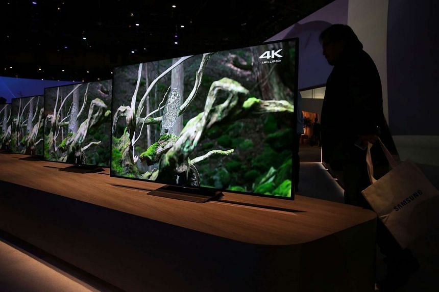 The new Sony 4K HDR TVs on display at CES 2016 at the Las Vegas Convention Center on Jan 7, 2016.