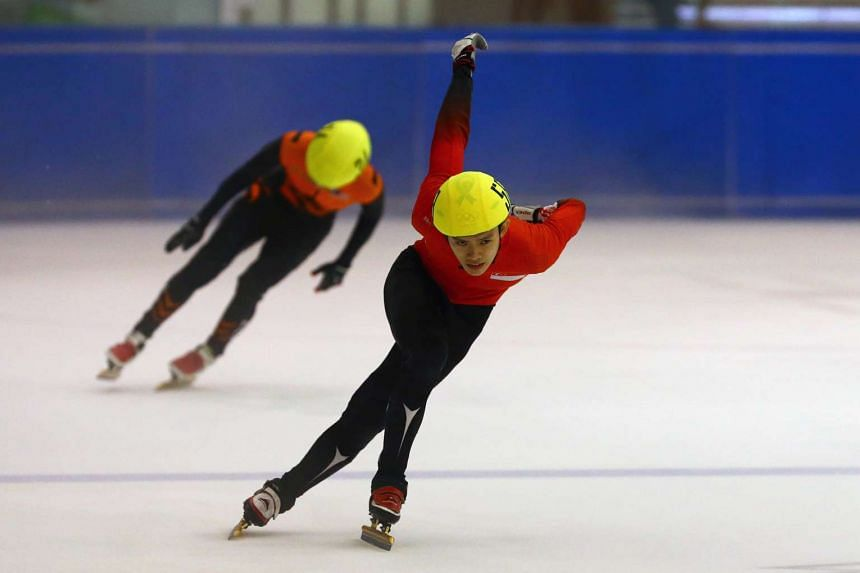 Speed skater Lucas Ng (foreground) will compete in the ISU World Short Track Speed Skating Championships in Seoul, South Korea on March 11-13.
