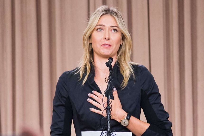 Maria Sharapova speaks at a press conference in downtown Los Angeles.