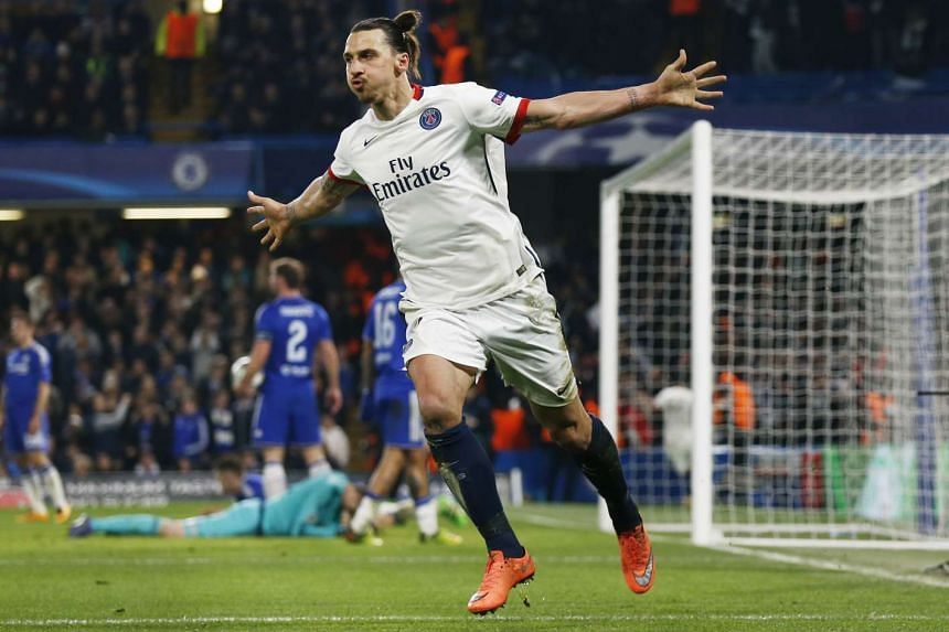 Zlatan Ibrahimovic celebrates after scoring the second goal for PSG during their Uefa Champions League match against Chelsea.
