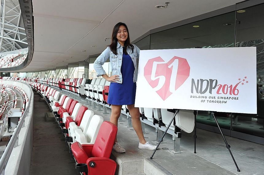 BG Liow says the National Stadium venue allows the organisers to try out new things. Singapore Polytechnic student Chelsea Lim, with her winning logo for NDP 2016. Her design was chosen by a public vote after being shortlisted from some 250 entries.