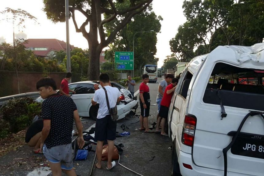 Both the van and the sedan were badly damaged in the accident.