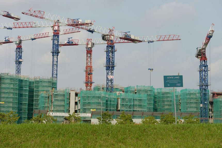 A construction site along Compassvale Bow near Buangkok MRT Station on Oct 8, 2014.