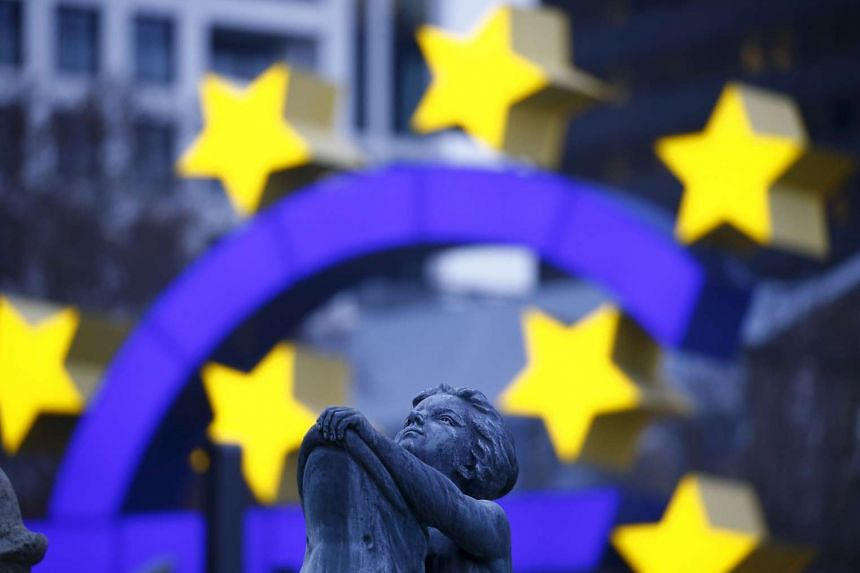 The euro sign landmark is pictured outside the former headquarters of the European Central Bank (ECB) in Frankfurt, Germany.