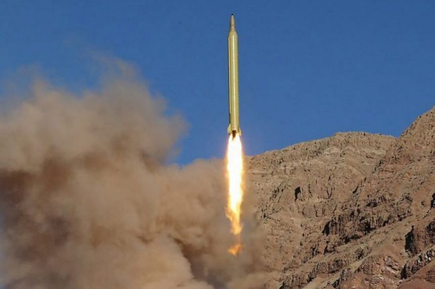 A long-range missile being launched at an undisclosed location in Iran on March 9, 2016.