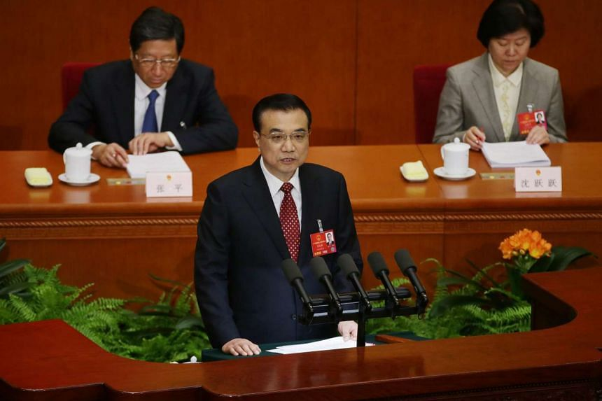 Chinese Premier Li Keqiang delivers his speech during the 12th National People's Congress in Beijing, China, on March 5, 2016.
