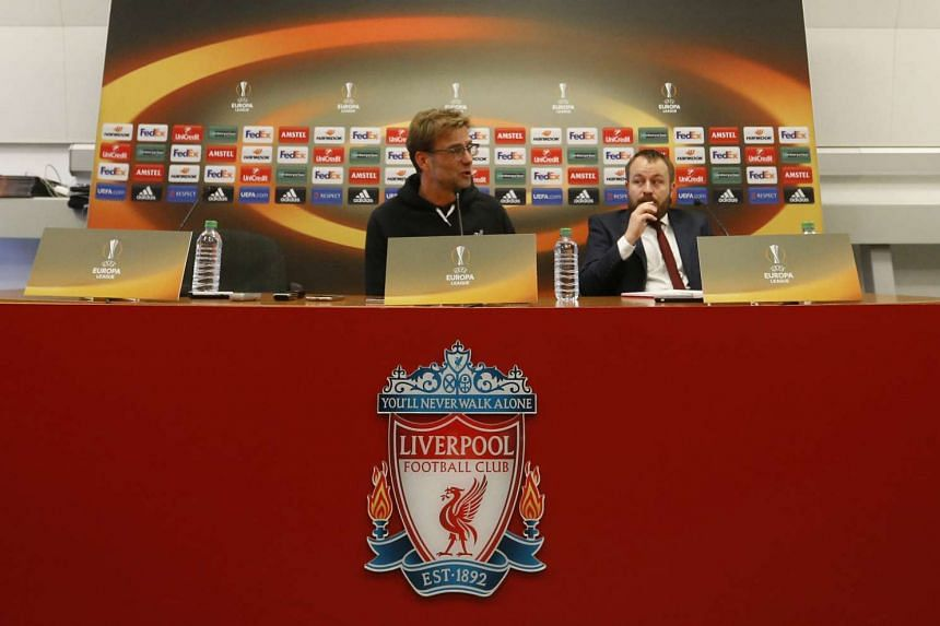 Juergen Klopp during the Liverpool Press Conference.