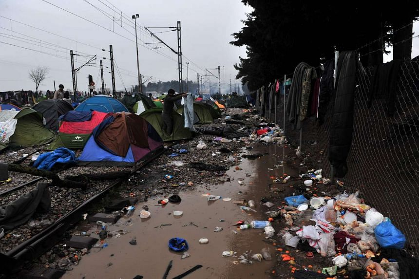 A camp set by migrants near the Greek village of Idomeni on March 10, 2016.