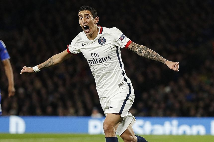 Angel di Maria celebrating Paris Saint-Germain's first goal against Chelsea in the Champions League last-16 second-leg tie. The Argentinian was involved in both of PSG's goals in their 2-1 victory at Stamford Bridge.