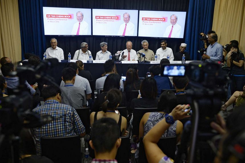 Dr Tan Cheng Bock (fourth from left) announcing his intention to make a second bid for presidency, at the MHC Asia Healthcare building on Friday (March 11).