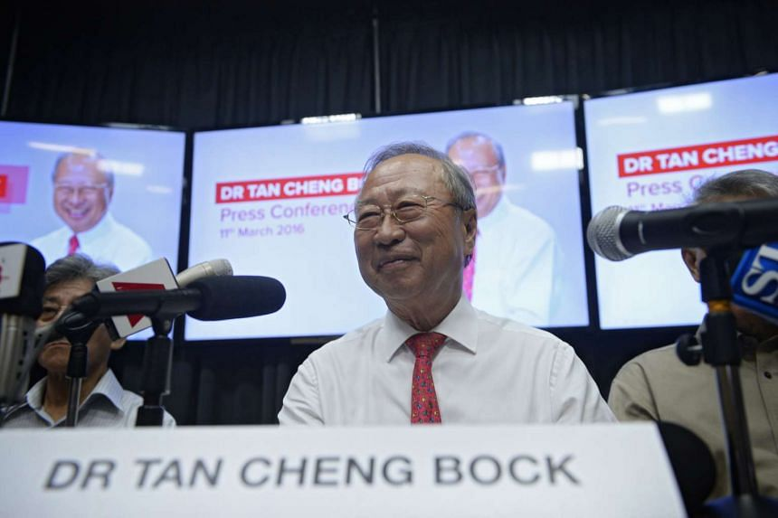 Dr Tan Cheng Bock announcing his intention to make a second bid for presidency, at the MHC Asia Healthcare building on Friday (March 11).