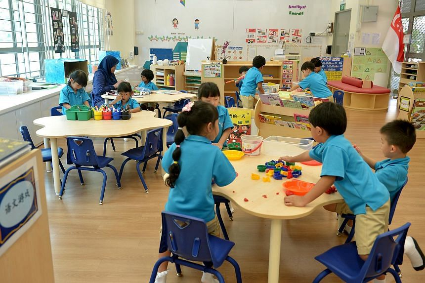 Children at the Ministry of Education kindergarten at Dazhong Primary School in Bukit Batok.