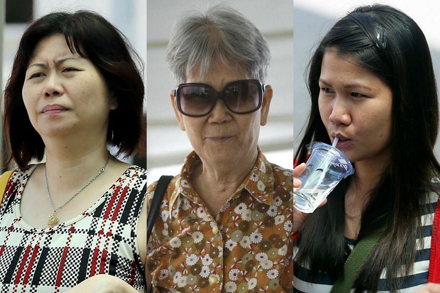 Kathleen Chua Siew Wei's elder sister Chua Siew Peng (left) and mother Lum Wai Lui (centre) were separately tried for abusing Filipina Jonna Memeje Muegue (right).