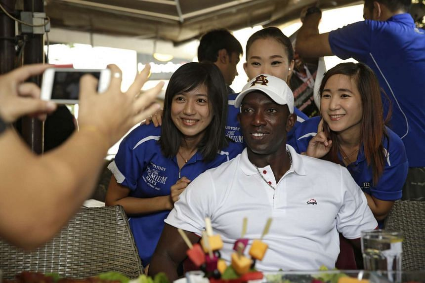 Dwight Yorke posing for a photo at The Chamber, Capital Square, on March 11, 2016.