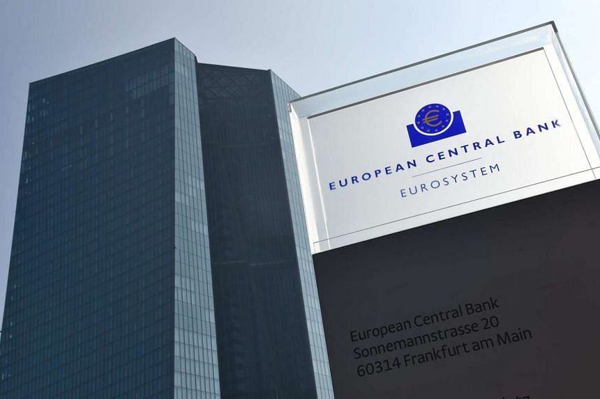 The logo of the European Central Bank (ECB) at its headquarters in Germany, on March 10, 2016.