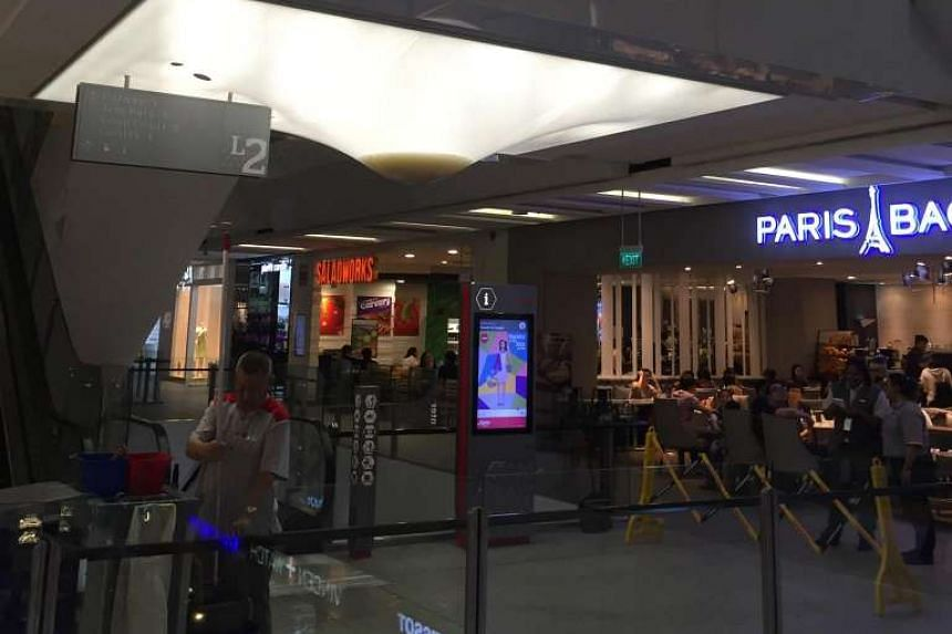 Escalators between the second and third floors of Jem shopping mall were shut due to leak on March 11, 2016.