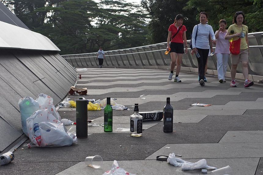Litter on the Alexandra Arch bridge across Alexandra Road, on Jan 31, 2015.