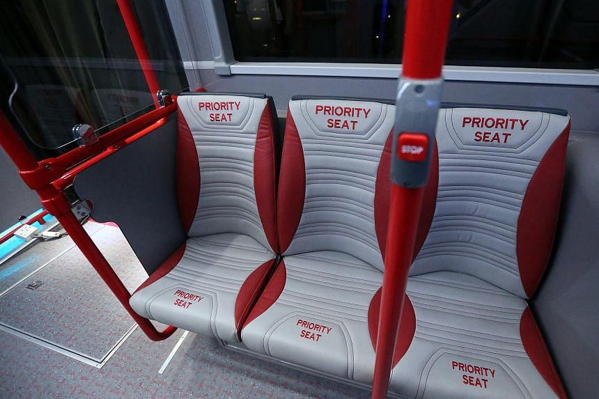 The new priority seats design on Bus A, one of the concept double-decker buses.