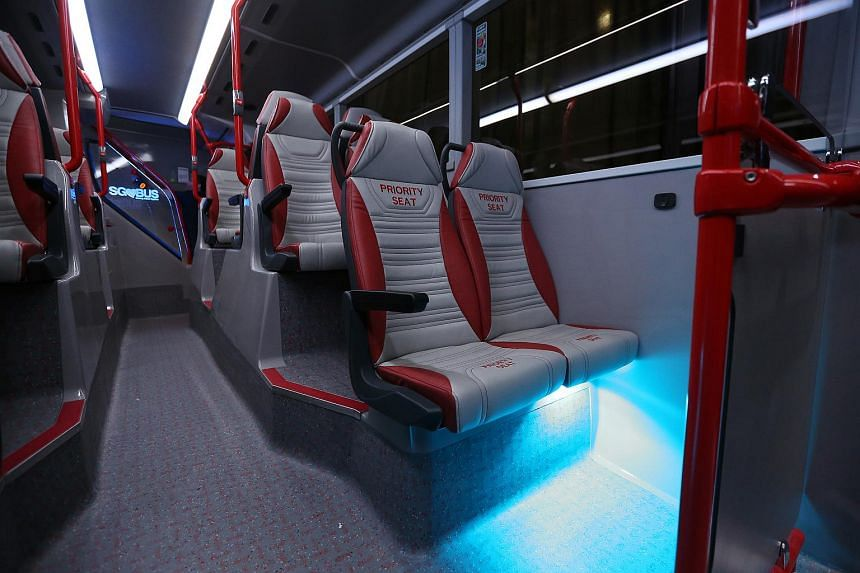 The seats onboard Bus A, one of the concept double-decker buses.