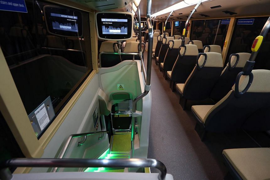 The view of the upper deck on Bus B, one the concept double-decker buses.