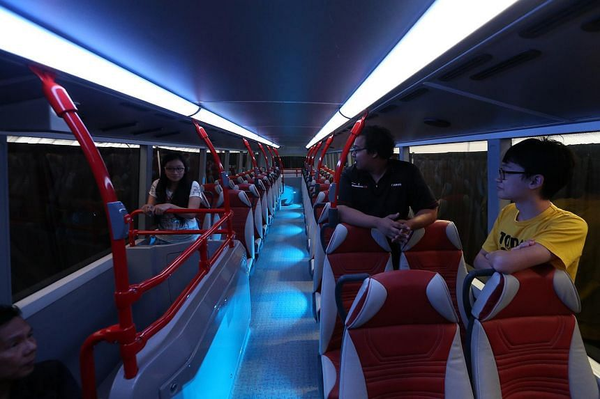 The view of the upper deck on Bus A, one the concept double-decker buses.