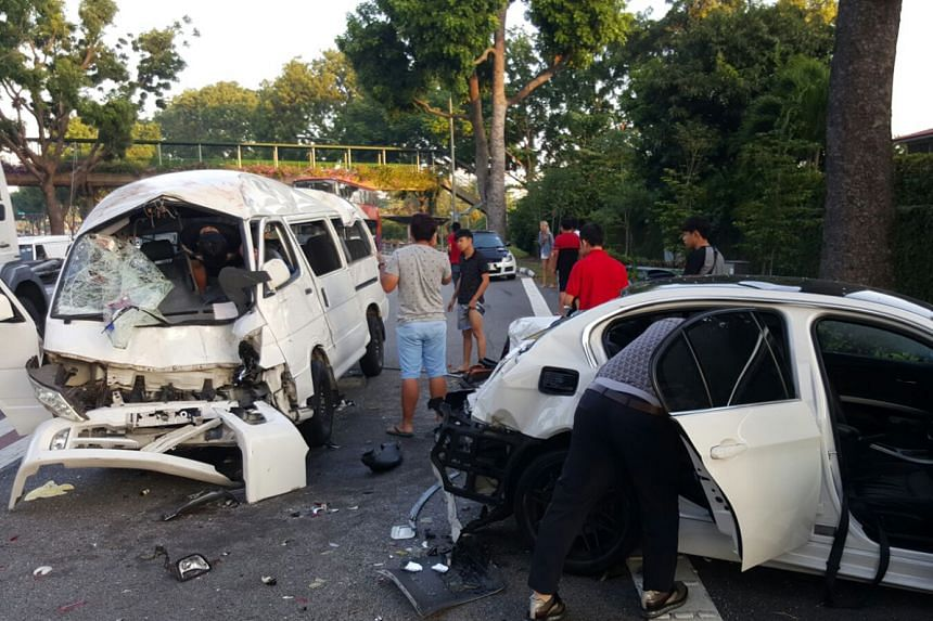 The accident involved a private bus, a van and a car, and took place just after the Clementi Avenue 6 exit, in the direction of the Marina Coastal Expressway, at around 7.30am yesterday.