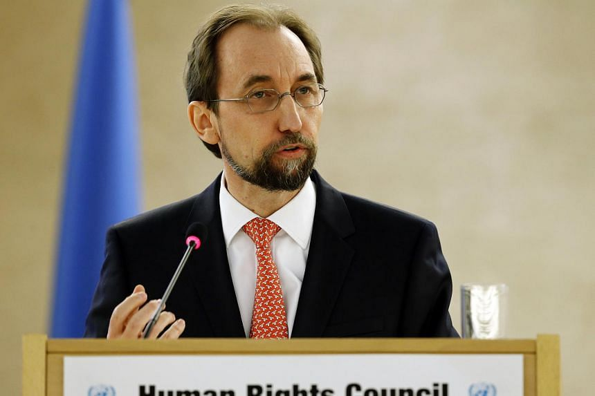UN human rights chief Zeid Ra'ad Al Hussein addresses the 31st session of the Human Rights Council in Geneva on Feb 29, 2016.