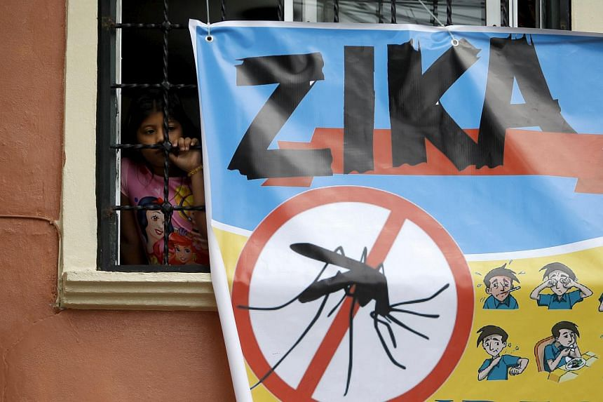 A woman looks on next to a banner as soldiers and municipal health workers take part in cleaning of the streets, gardens and homes to prevent the spread of the Zika virus vector in Tegucigalpa, Honduras, on Feb 6, 2016.
