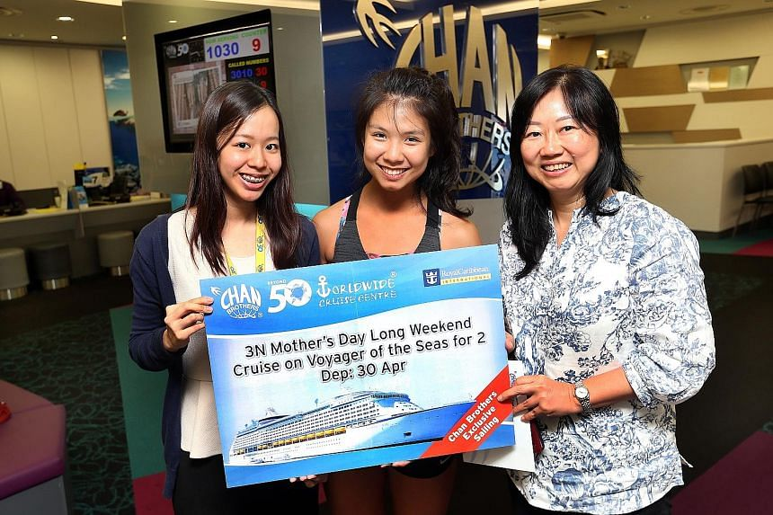 (From left) Chan Brothers marketing and communication executive Joyce Tan with the winners Beverly Lim and Maureen Lim. Beverly is going on the cruise with her sister, while Maureen is going with her husband.