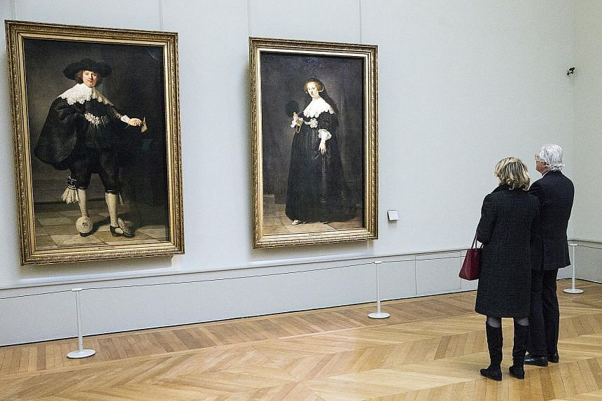 The paintings at the Louvre museum in Paris are Rembrandt's only known full-length portraits.