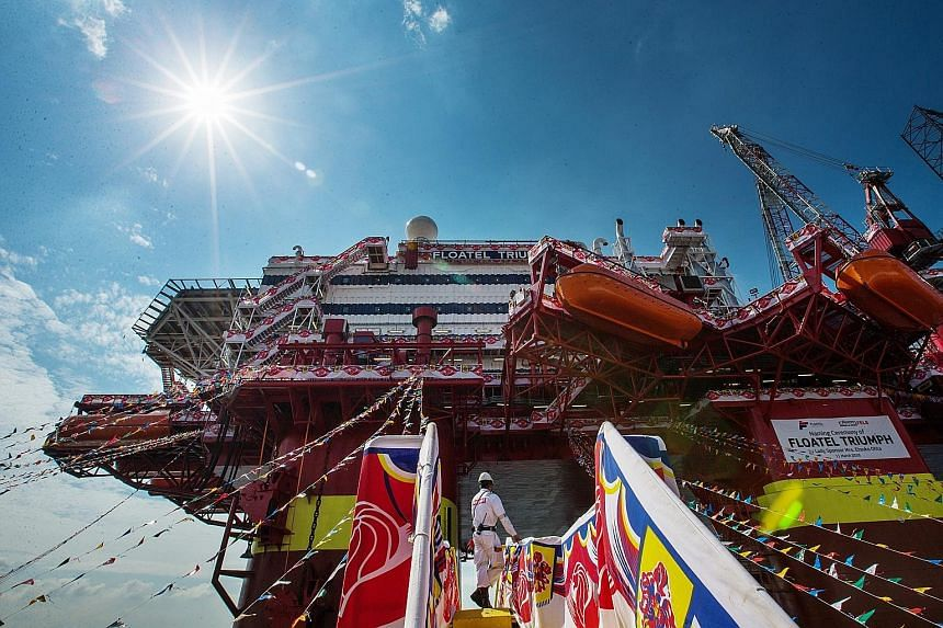 """Floatel International's new vessel, named Floatel Triumph yesterday, will be delivered by Keppel Fels """"on time, on budget and with a perfect safety record"""", said Keppel Offshore and Marine managing director Wong Kok Seng."""