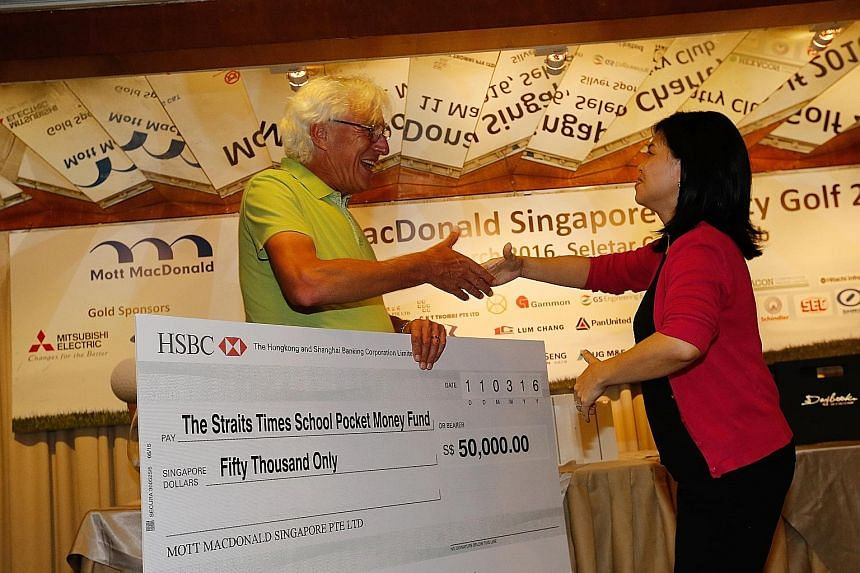 Consultancy firm Mott MacDonald Singapore yesterday donated the $50,000 raised from its charity golf event to The Straits Times (ST) School Pocket Money Fund to help children from low-income families through school. A cheque for the amount was presen