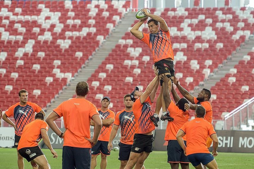 The Cheetahs practising their line-out technique during a short training session at the National Stadium. Coach Franco Smith hopes the Springboks' shock loss to Japan in last year's World Cup will motivate his team.
