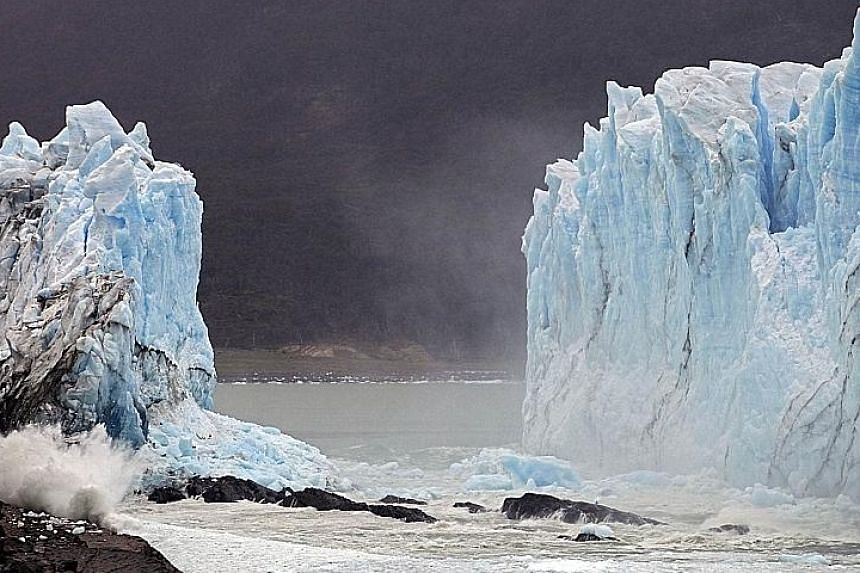 A sequence of images showing a collapse of huge masses of ice from part of the Perito Moreno Glacier in Los Glaciares National Park, south-west Santa Cruz Province, Argentina, on Thursday. The ice formation measures 250 sq km and is 30 km in length.