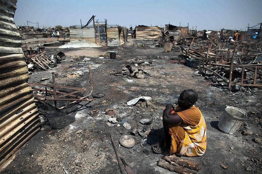 A displaced woman in the Protection of Civilians site in Malakal. South Sudan's war began in 2013 resulting in tens of thousands killed, more than 2 million displaced, and at least 40,000 plunged into a famine.