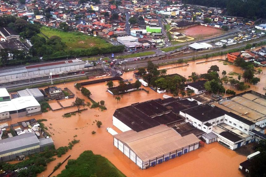 An aerial view of a flooded area in Itapevi, some 41km from Sao Paulo, on March 11.