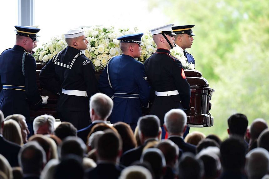 The casket of US former First Lady Nancy Reagan is carried to her funeral service on March 11, 2016.