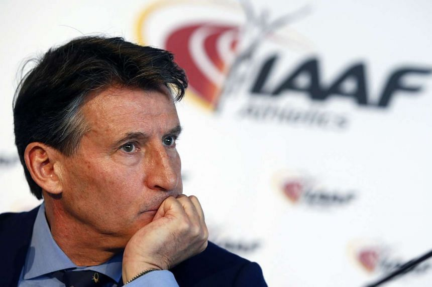 IAAf president Sebastian Coe at a press conference in Monaco, March 11, 2016.