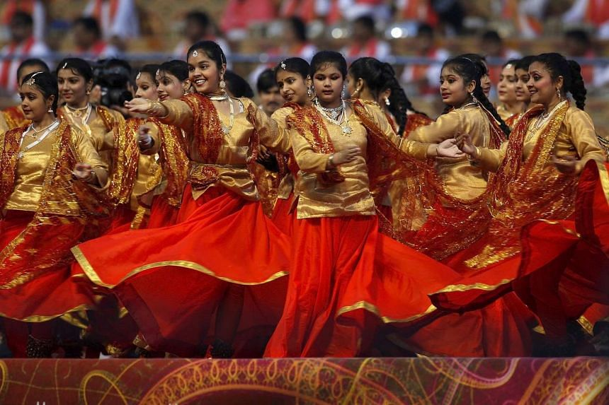 Participants perform at the World Culture Festival in New Delhi, March 11, 2016.