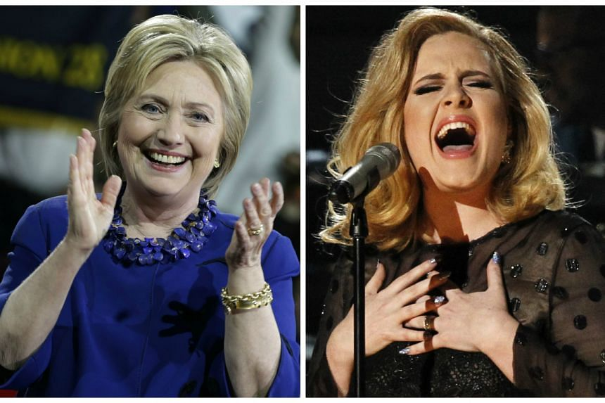 Clinton (left) said in a radio interview that she would choose the British ballad singer (right) if she had her own music show.