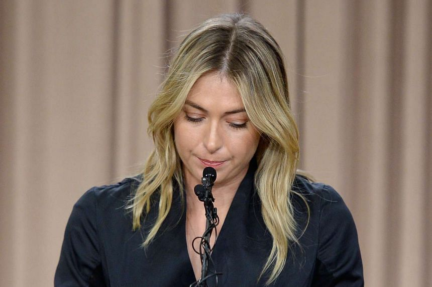 Tennis player Maria Sharapova addressing the media regarding a failed drug test at The LA Hotel Downtown on March 7, 2016.