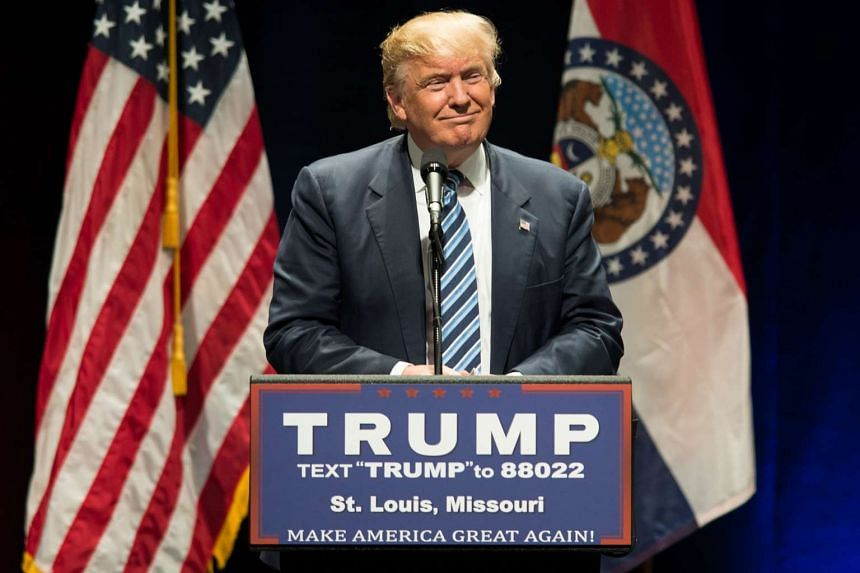 US Republican presidential candidate Donald Trump speaking to supporters during a rally at the Peabody Opera House on March 11, 2016, in St. Louis, Missouri.