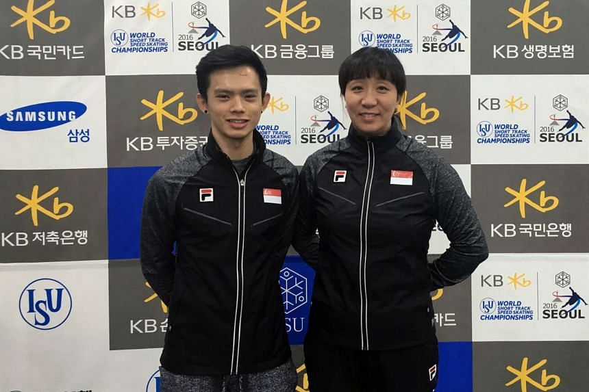 National speed skater Lucas Ng (left) with his coach Chun Lee Kyung at the World Short Track Speed Skating Championships in South Korea.
