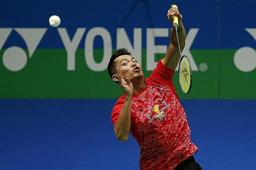 "Lin Dan hitting a return during his quarter-final win over Jan Jorgensen. The Chinese shuttler, who will face compatriot Xue Song in the semi-finals, said: ""I'm really excited with the win."""
