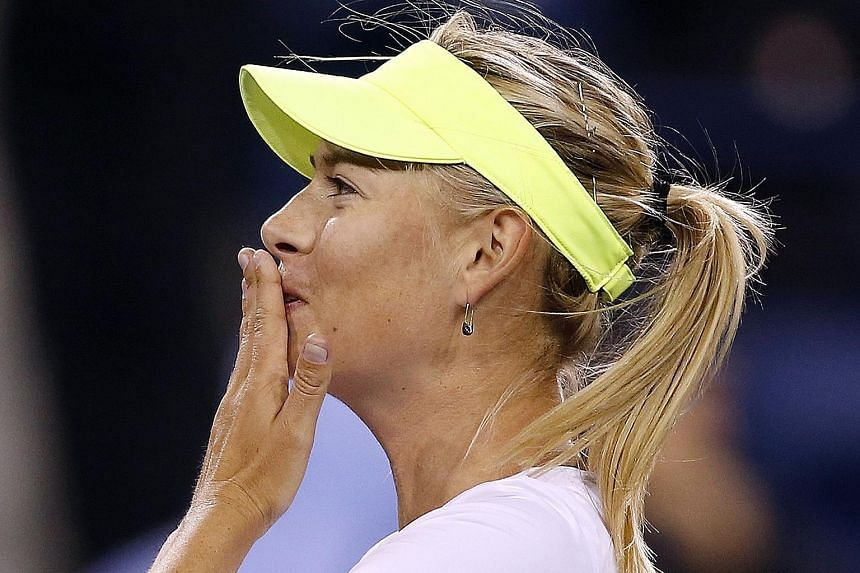 The two contrasting sides to the life of Maria Sharapova are seen (left) in a moment of glory, blowing a kiss to the crowd in 2013; and (right) in possibly the darkest moment of her professional career, admitting last week in Los Angeles that she had
